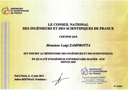 Certificat d'inscription IESF-CNISF
